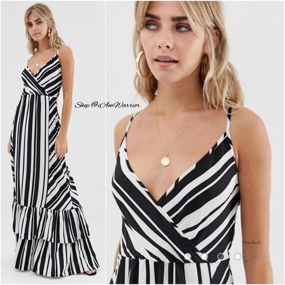 52bc5c5fbd Boohoo NWT striped tiered ruffle maxi dress